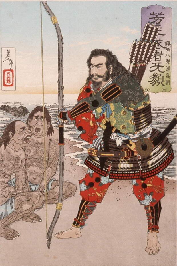 Минамото Тамэтомо. Японская гравюра. ukiyo-e.org - «Я постиг, что Путь Самурая — это смерть» | Warspot.ru