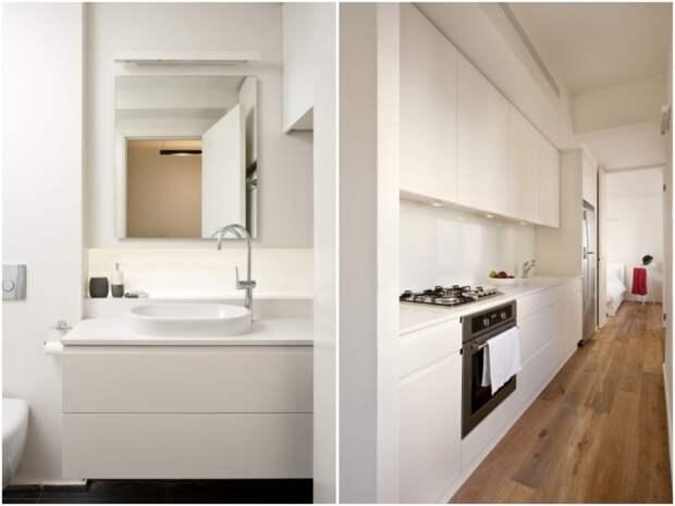 В центре квартиры расположили изолированную ванную комнату и кухню (Израиль). | Фото: arthitectural.com.