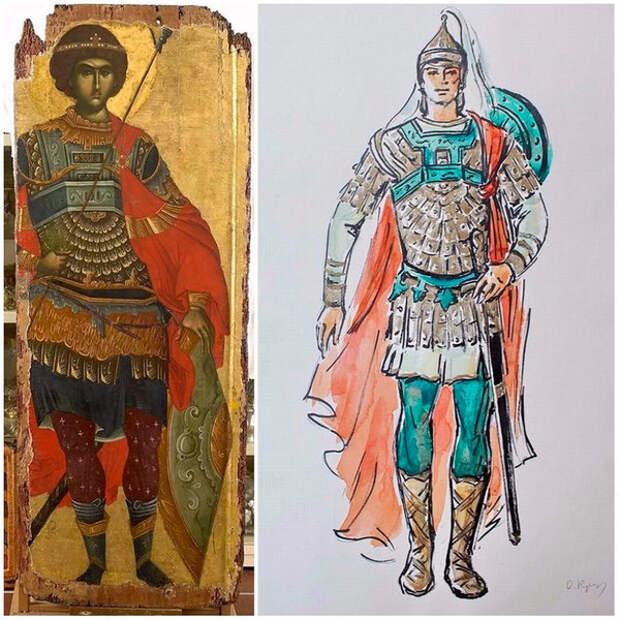 Слева икона из монастыря Vatopedi, Agion Oros, справа костюм Руслана художницы по костюмам О. Кручининой (фото из фондов РГБИ)