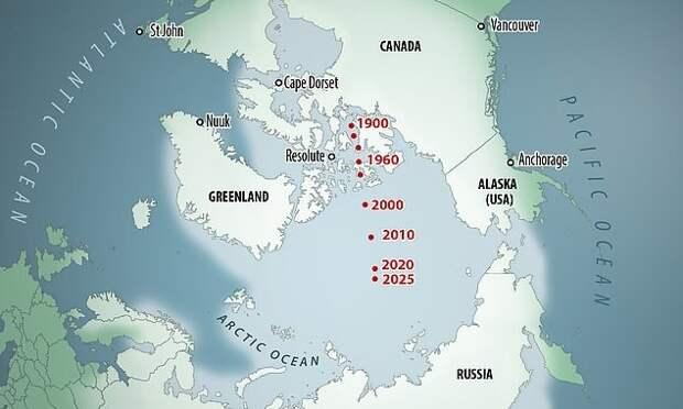 Как северный магнитный полюс перемещался с начала прошлого века / © Baomoi