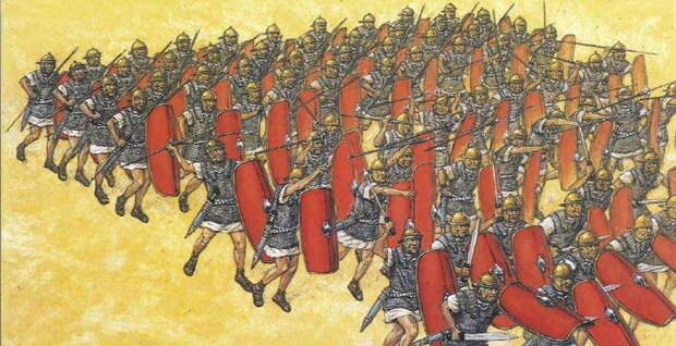 Одна из возможных реконструкций техники метания пилумов. Рисунок А. Хука - Жало римских легионов | Warspot.ru