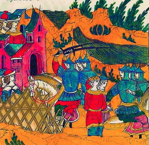 Нападение Ржевского на Ислам-Кермен. Миниатюра из Лицевого свода, том 22 - «Война двух царей»: разведка | Warspot.ru