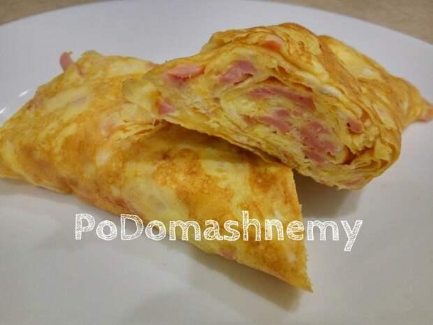 Оригинальный завтрак для всей семьи. Омлет с колбасой и сыром. Омлет, Видео рецепт, Завтрак, Видео