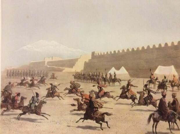 Джигитовка курдов и татар перед крепостью