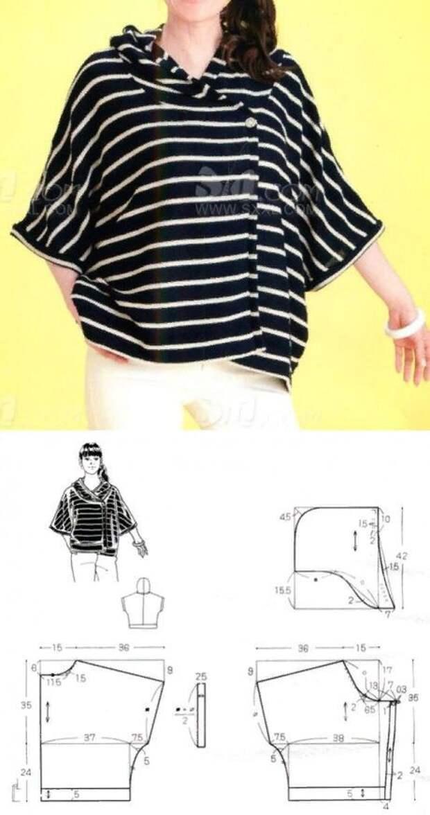 Блузка с капюшоном (выкройка)