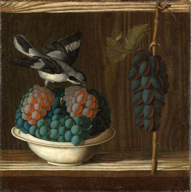 Натюрморт с виноградом и птицей, Антонио Леонелли (да Кревалькор), ок. 1500–1510.jpg