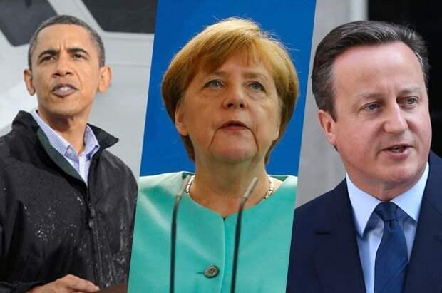 Барак Обама, Ангела Меркель, Дэвид Кэмерон.