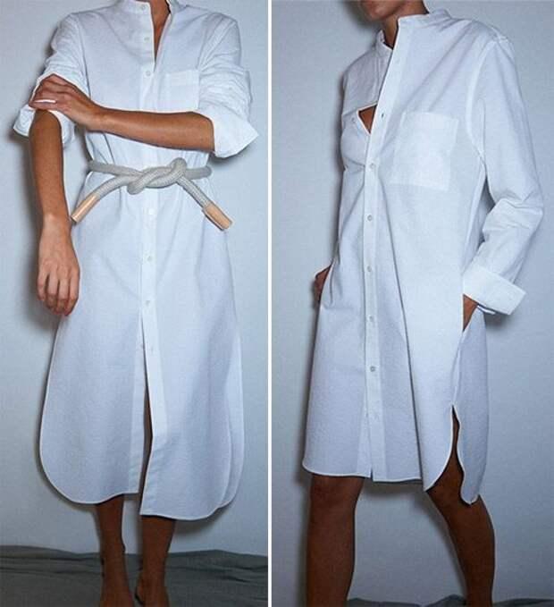 Белое платье-рубашка с поясом и без