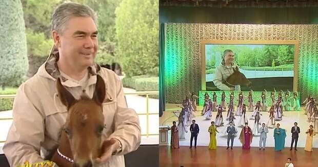 Президент Туркмении назвал коня городом и спел об этом
