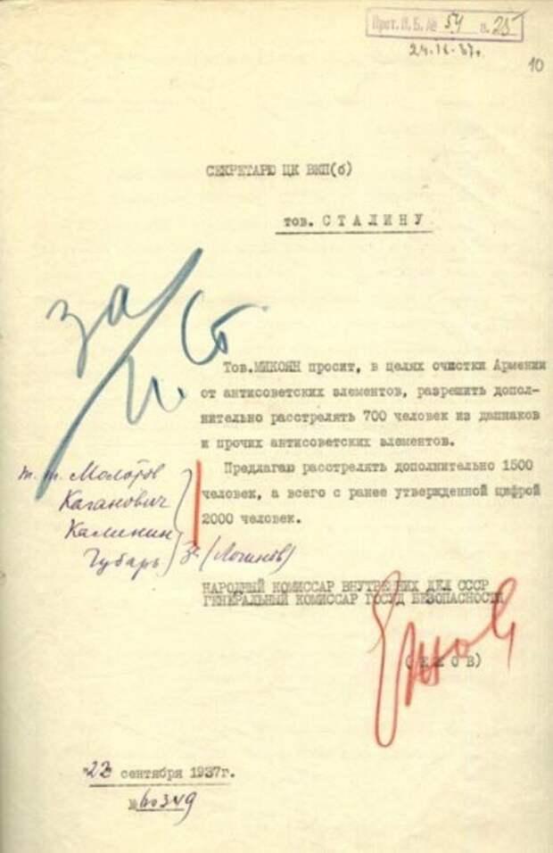 Резолюция И.В. Сталина на расстрельном приказе.