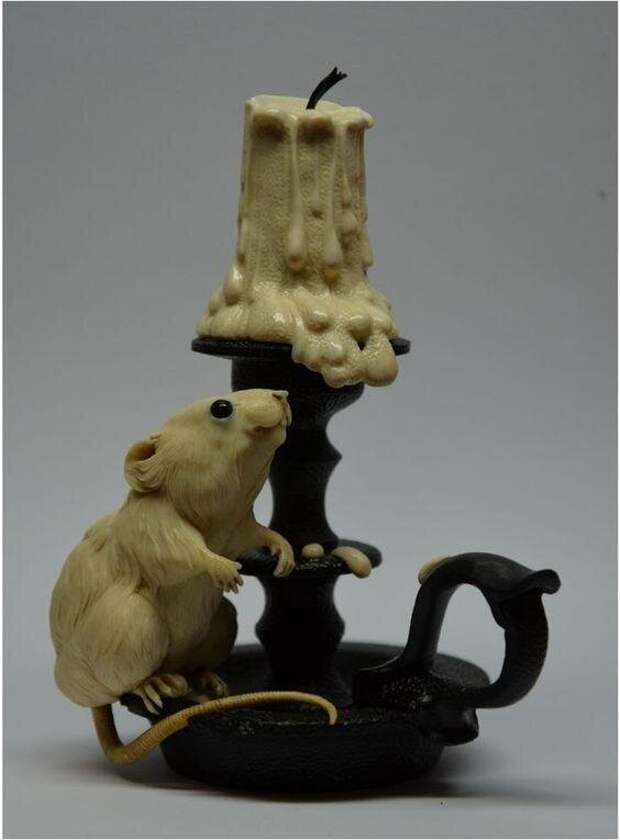Чудесные мышки Олега Дорошенко. Резьба по бивню мамонта. Золотые руки!