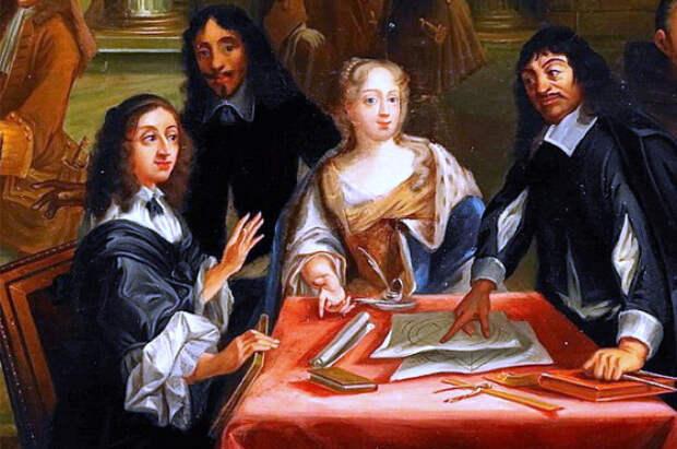 Диспут Декарта (справа) и королевы Кристины, картина Пьера-Луи Дюмениля.