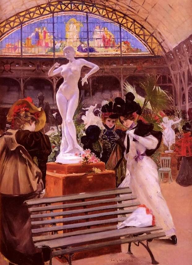 Ожившая богиня. Статуя Клео де Мерод в Салоне 1896 года. Картина Карлоса Васкеса.