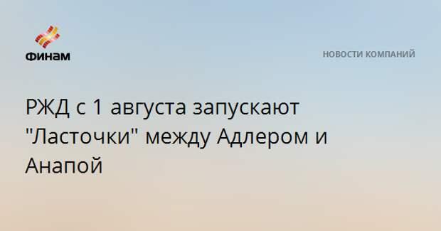 """РЖД с 1 августа запускают """"Ласточки"""" между Адлером и Анапой"""
