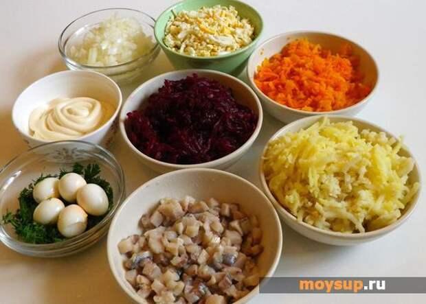 Классический вариат приготовления салата «Селедка под шубой»