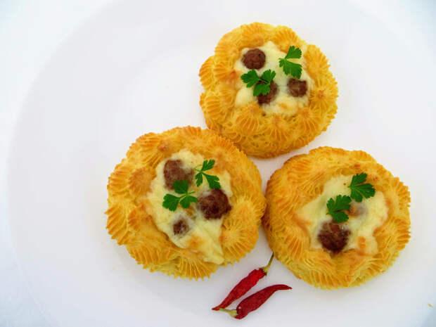 Картофельные гнезда с начинкой Вкусно, Просто, Приготовление, Рецепт, Картофельные гнезда, Другая кухня, Видео рецепт, Длиннопост, Еда, Видео