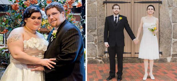 15. Похудели к 4 годовщине свадьбы. Муж сбросил 59 кг, а жена - 49 кг похудение, результат