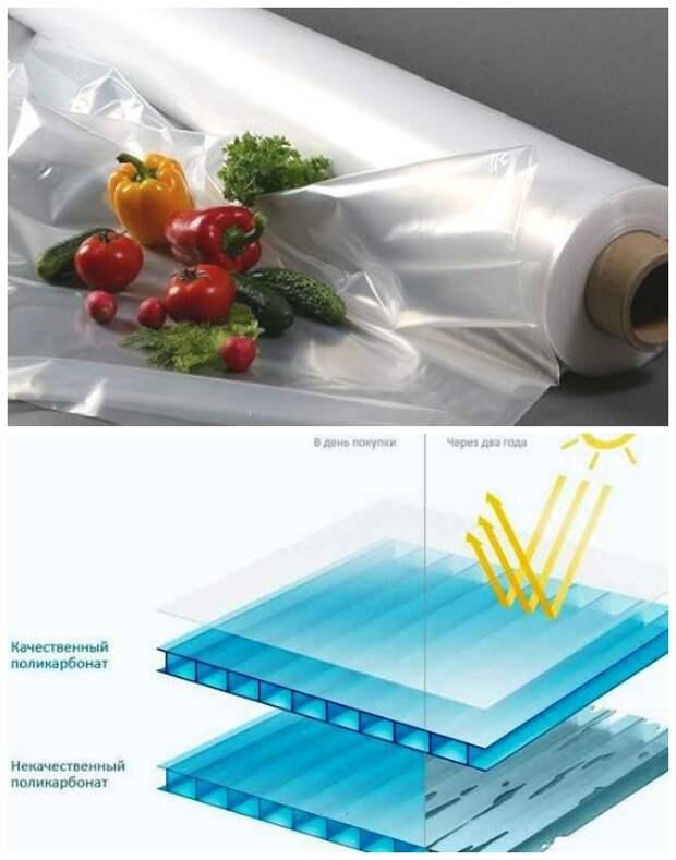 Полиэтиленовая пленка и поликарбонат – идеальный светопрозрачный укрывной материал для большинства конструкций теплиц.