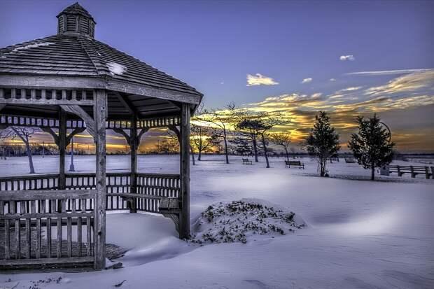 Снег, Беседка, Зима, Холодный, Уайт, Пейзаж, Парк