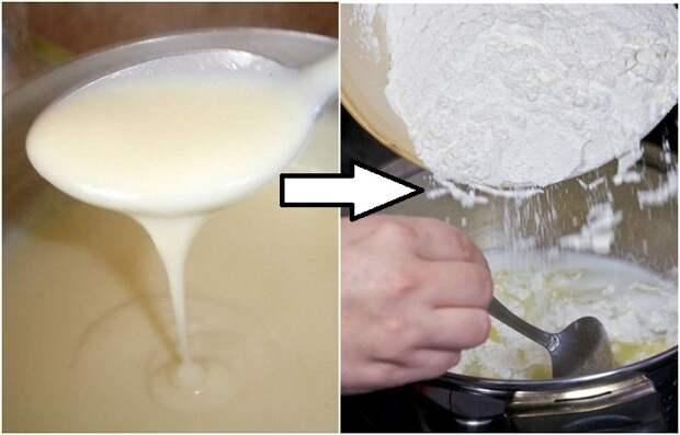 Заварной крем будет гуще, если добавить немного просеянной муки