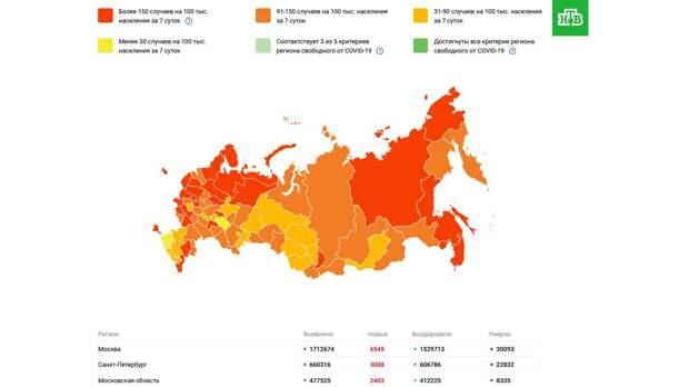 В России запустили тепловую карту по ситуации с коронавирусом