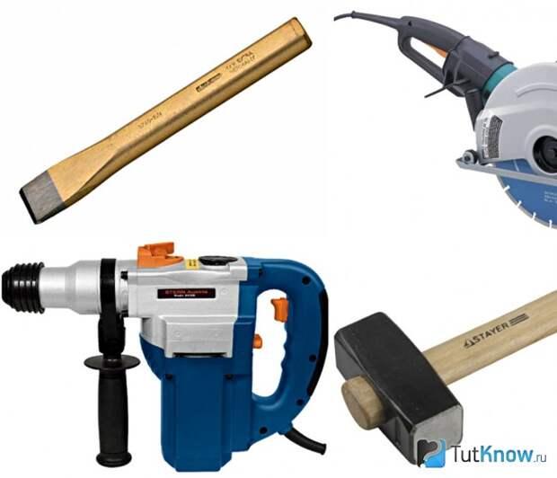 Инструменты для изготовления ниши в кирпичной стене