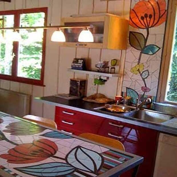 интерьер кухни с мозаикой