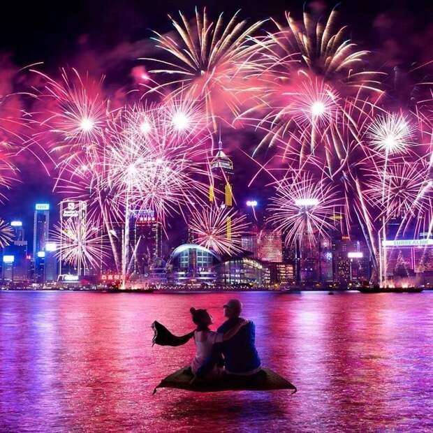 12. Лучшие места для просмотра фейерверка по случаю Китайского Нового года Томми Фанг, гонконг, забавно, талант, фантазия, фото, фотошоп, художник