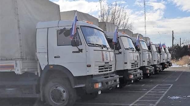 Российские миротворцы провели колонну с гумпомощью в Карабах