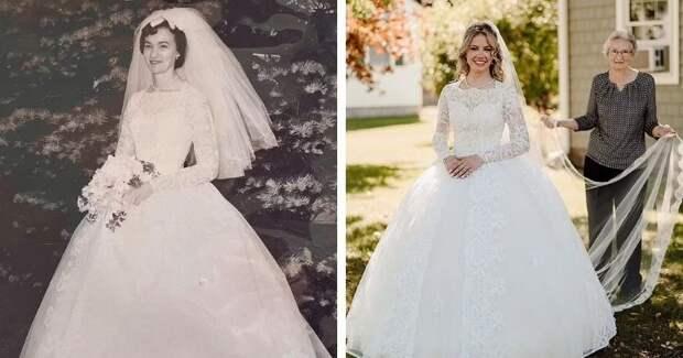 Девушка вышла замуж в бабушкином свадебном платье, сшитом в 1961 году. И оно идеально село на её фигуру