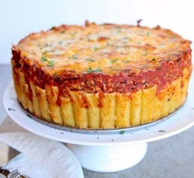 Итальянский пирог из макарон рожков ригатони