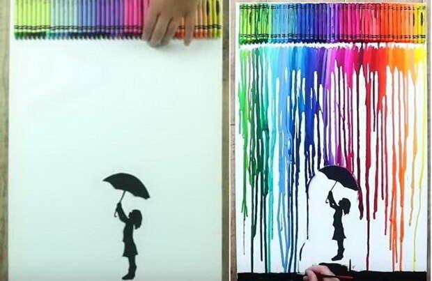 Как научиться рисовать восковыми мелками на ткани, используя наждачку, фен или утюг