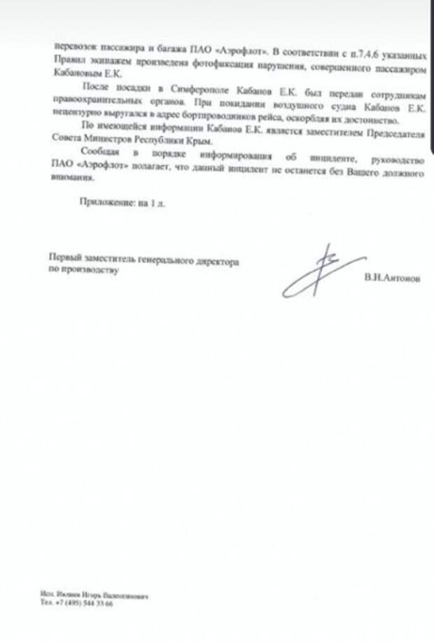 Вице-премьер Крыма устроил дебош в бизнес-классе самолета