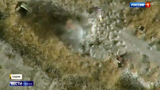 Появилось видео уничтожения боевиков в Сирии российским дроном-камикадзе