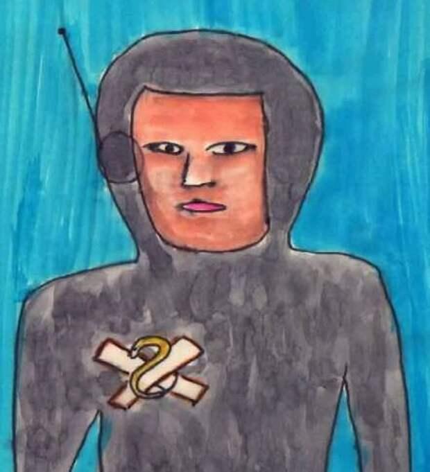 Эскиз человекоподобного существа с символом змеи на правой стороне его униформы.