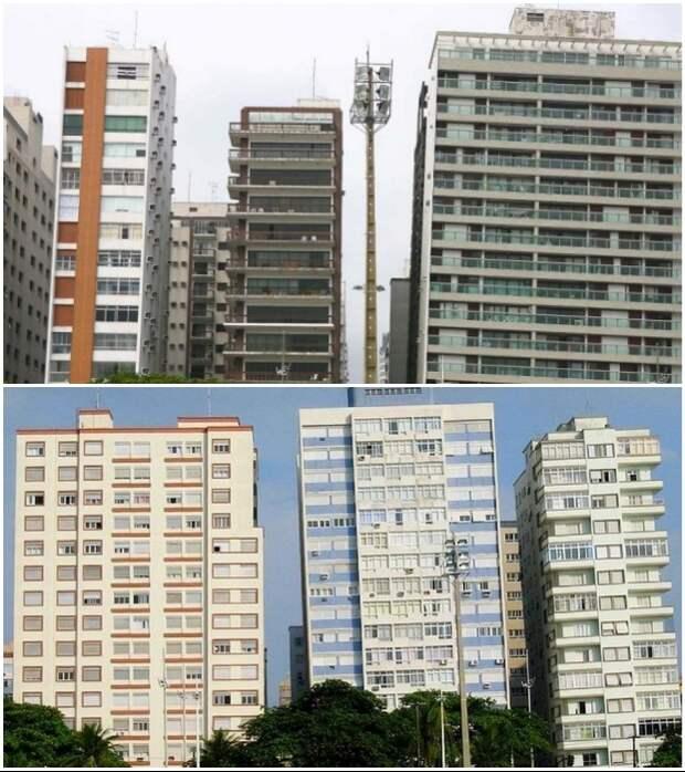 Это не обман зрения, а привычное расположение многоэтажных домов в Сантосе (Бразилия).