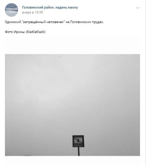 Фото дня: «запрещенный человек» на Головинских прудах