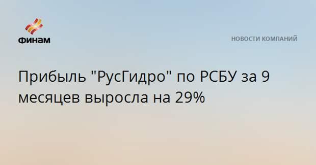 """Прибыль """"РусГидро"""" по РСБУ за 9 месяцев выросла на 29%"""