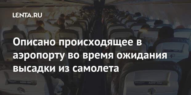 Описано происходящее в аэропорту во время ожидания высадки из самолета