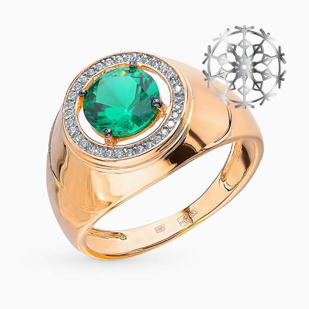 Кольцо «Эстет», розовое золото, фианиты