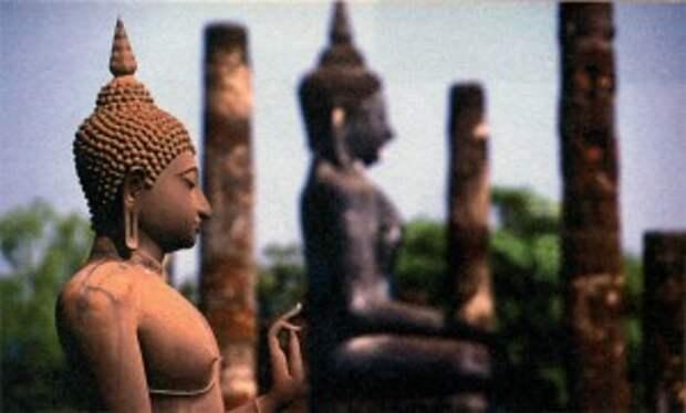 Скульптуры Будды в историческом парке Сукхотая. Среди них стоял и золотой Будда, покрытый цементом. Таиланд