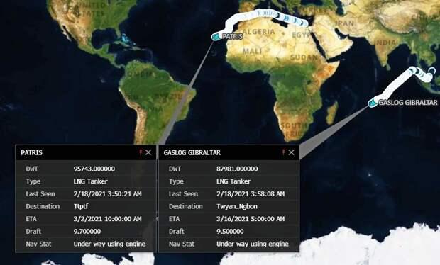 Шедший в США караван СПГ-танкеров меняет курс