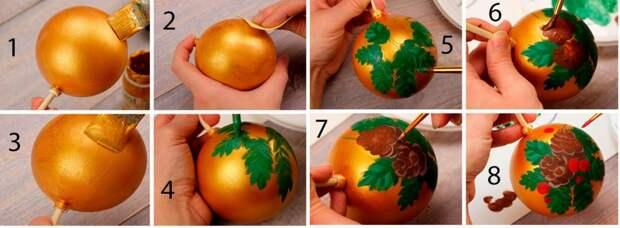 Праздничная роспись ёлочной игрушки пошагово