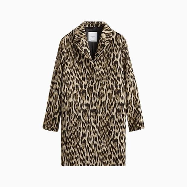Пальто Mango с леопардовым принтом