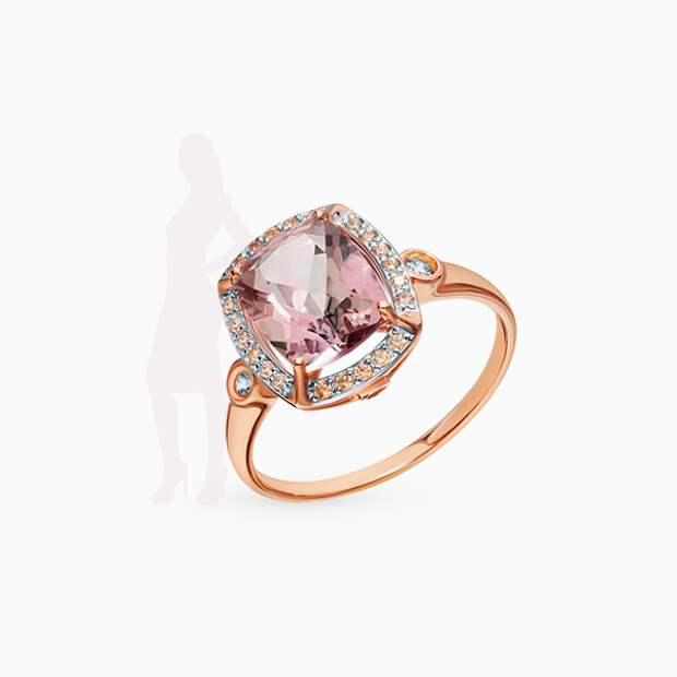 Кольцо Sokolov, розовое золото, топаз, фианиты