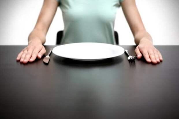 девушка сидит за столом с пустой тарелкой