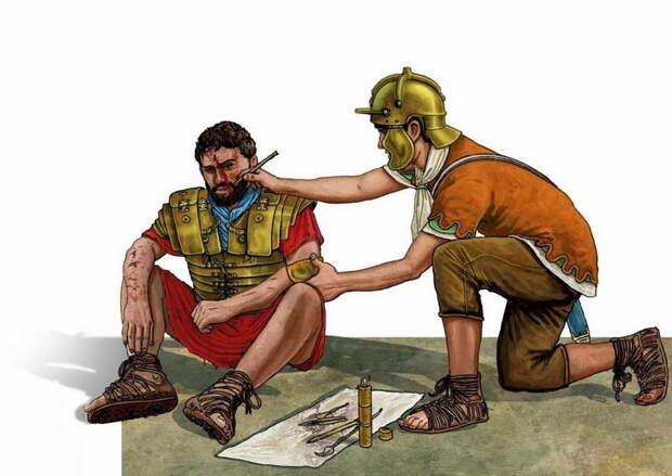 Римский медик оказывает помощь раненому на поле боя - Медицинская карта римского солдата | Warspot.ru