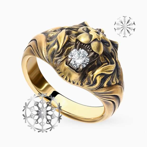 Кольцо «Алексей Помельников», желтое золото, бриллиант