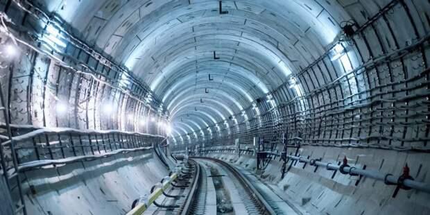 Собянин осмотрел ход строительства станции метро «Лианозово». Фото: Е. Самарин mos.ru