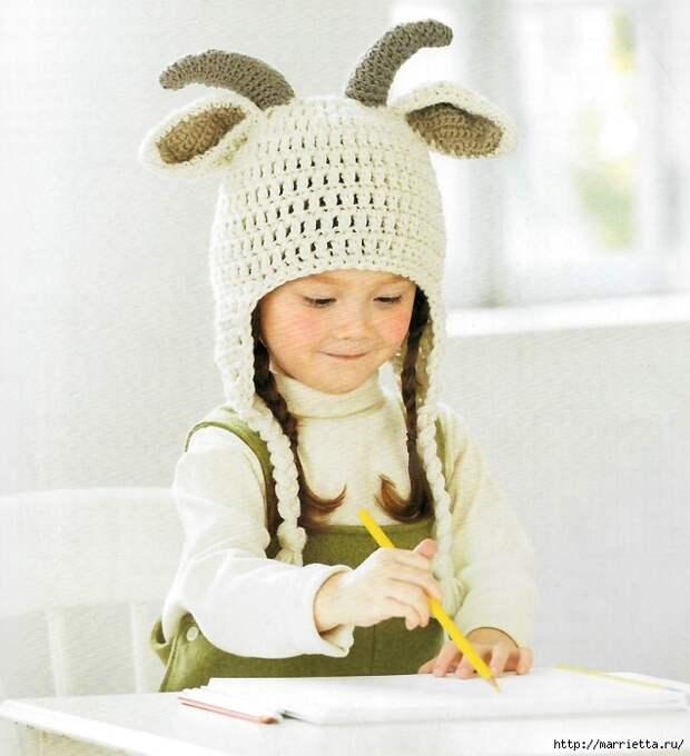 Детские шапочки с рожками и ушками. Вязание крючком
